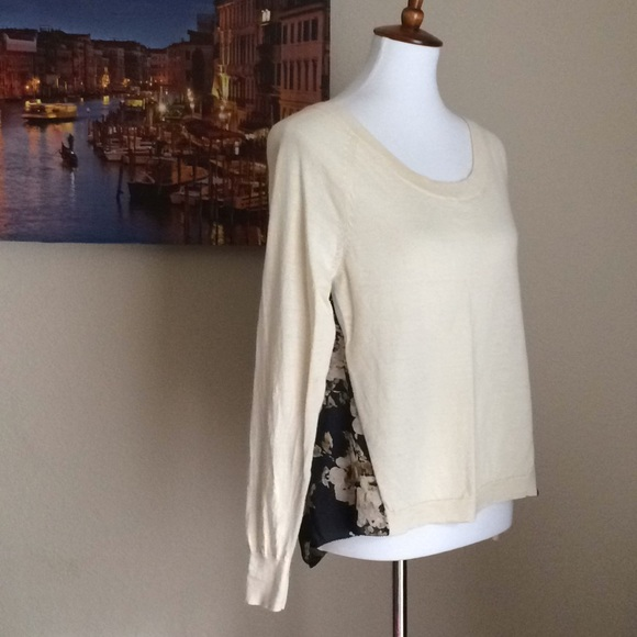 Anthropologie Sweaters - Anthro Moth Silk Laine Floral Cream Pullover 🤗